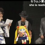 kotono_mitsuishi_toru_foruya_and_opa-p_reading_letter_from_naoko_takeuchi_at_sailor_moon_20th_anniversary_event