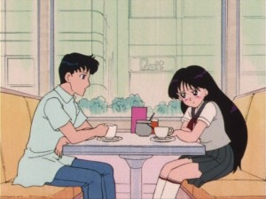 Mamoru and Rei have a romantic coffee date