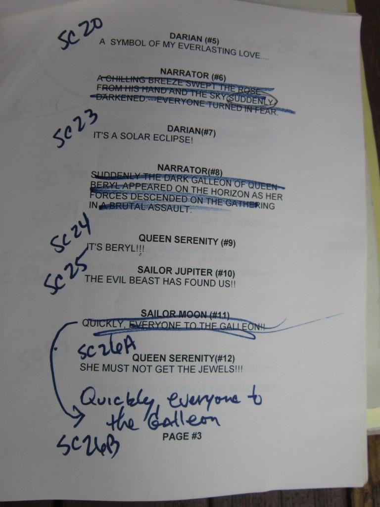 "Toon Makers' Sailor Moon script page 3 mentions Queen Beryl's ""The Dark Galleon"""
