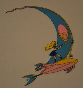 Sailor Moon and Luna on her Sky Flyer