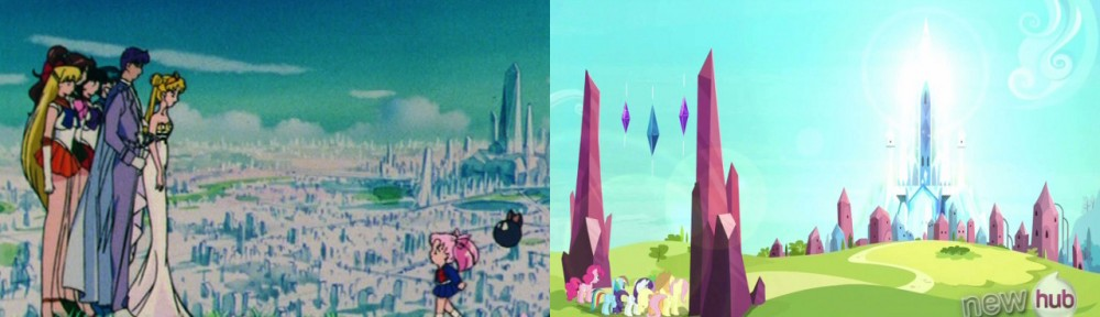 Sailor Moon - Chibiusa overlooking Crystal Tokyo - My Little Pony - Arriving at the Crystal Empire