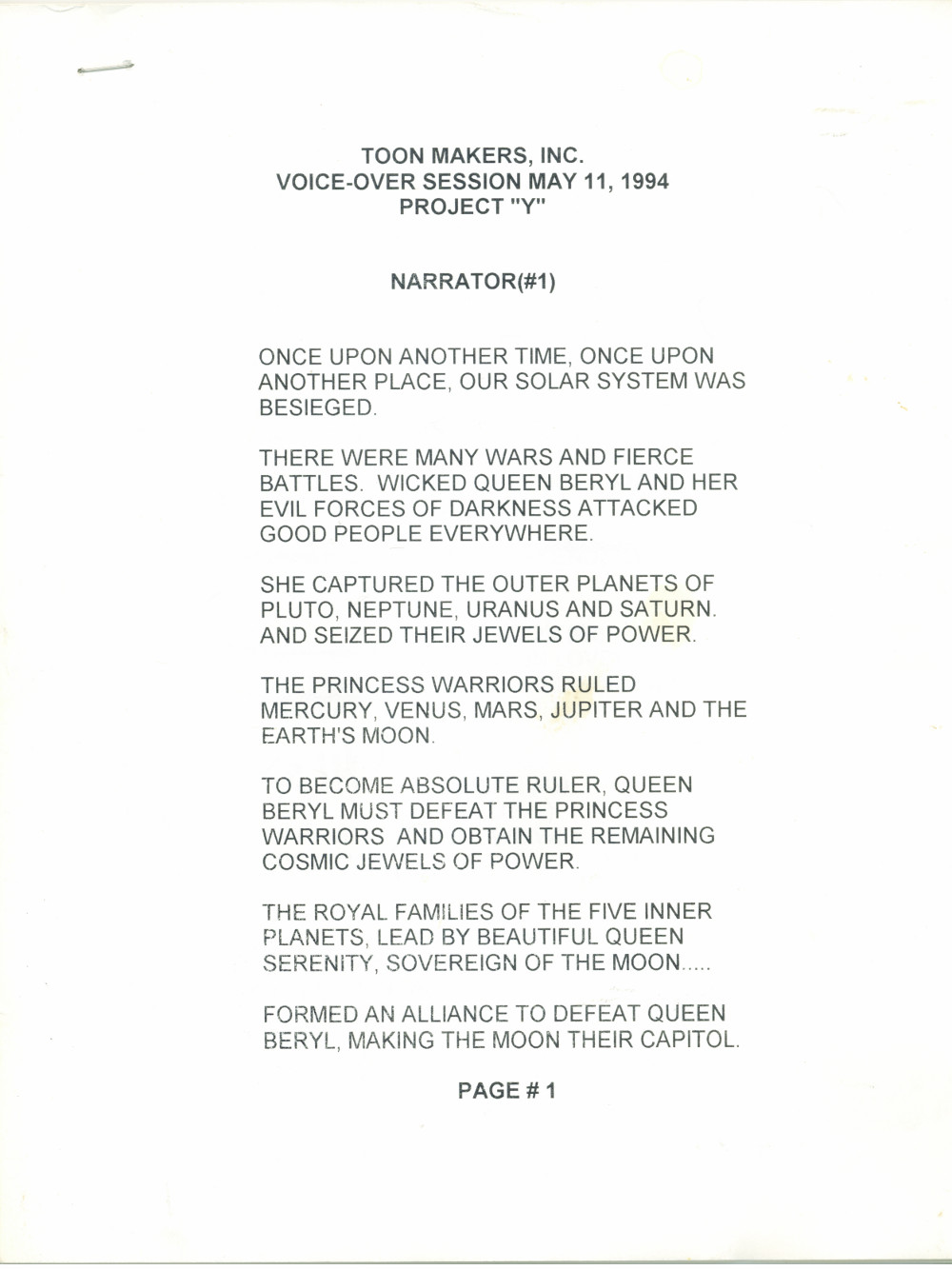 Toon Makers' Sailor Moon voice-over session script page 1 ... The Guardian