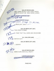 Toon Makers' Sailor Moon voice-over session script page 10