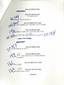 Toon Makers' Sailor Moon voice-over session script page 11