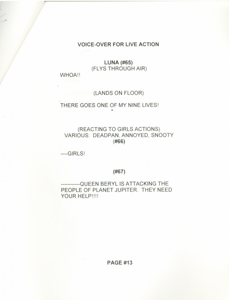 Toon Makers' Sailor Moon voice-over session script page 13
