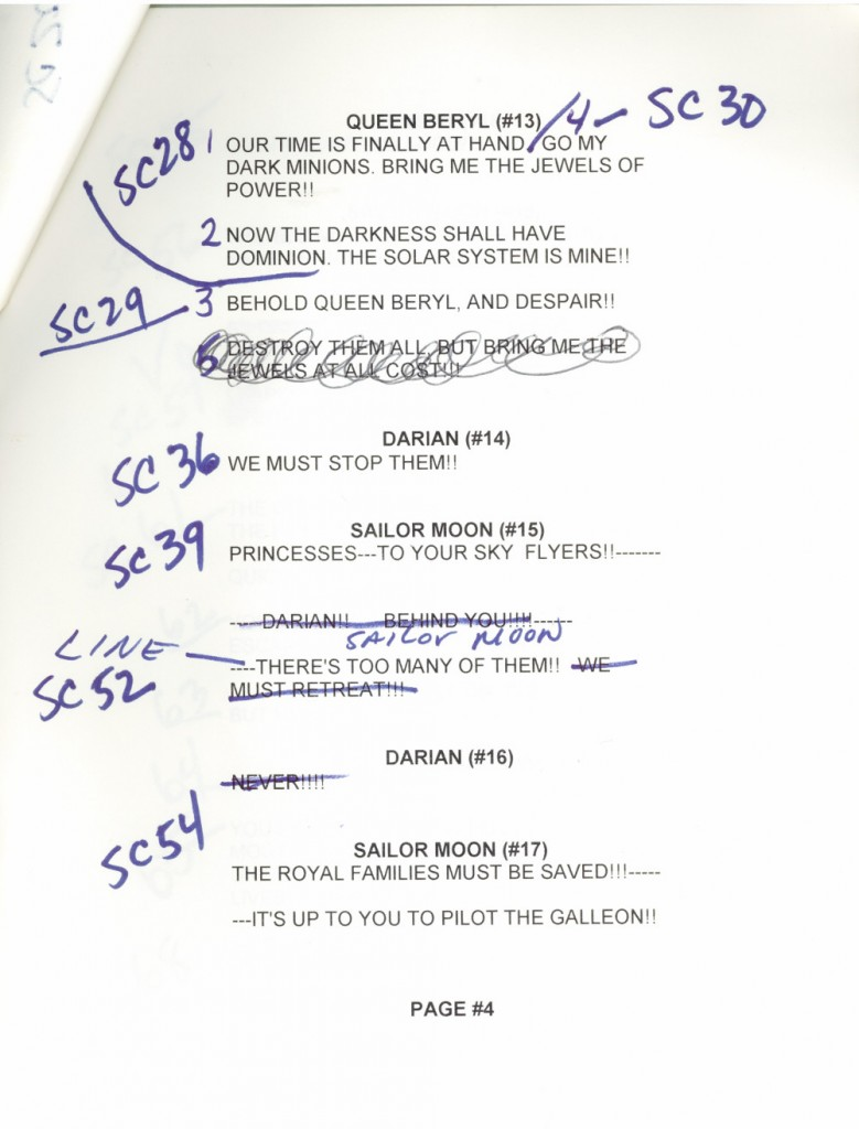 Toon Makers' Sailor Moon voice-over session script page 4