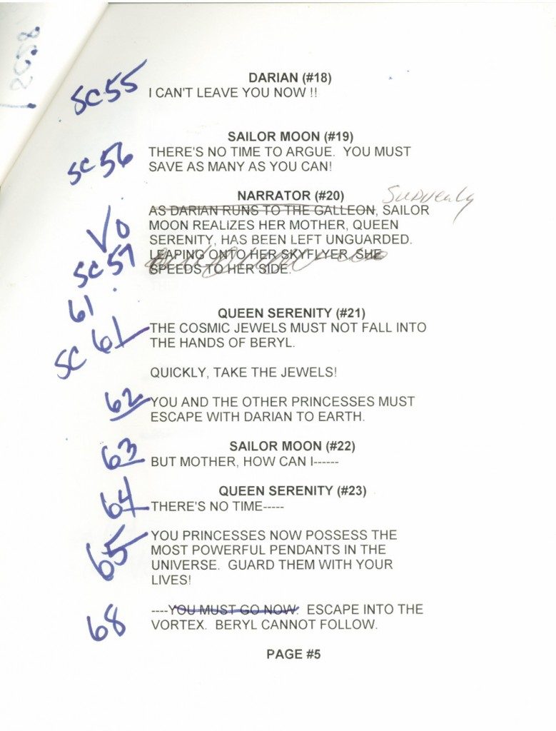 Toon Makers' Sailor Moon voice-over session script page 5
