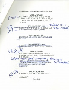 Toon Makers' Sailor Moon voice-over session script page 8