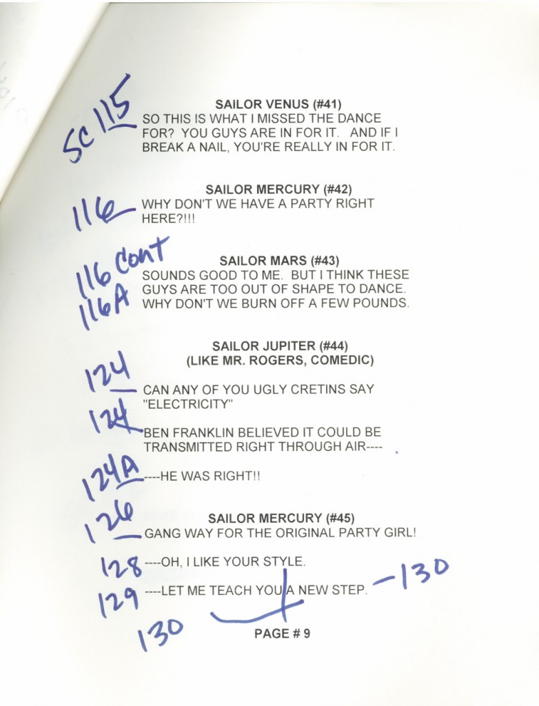 Toon Makers' Sailor Moon voice-over session script page 9
