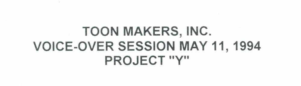 Toon Makers' Sailor Moon voice-over session script title