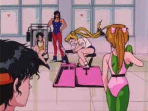 Usagi going all out on an exercise bike