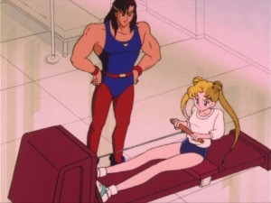 Usagi using a rower