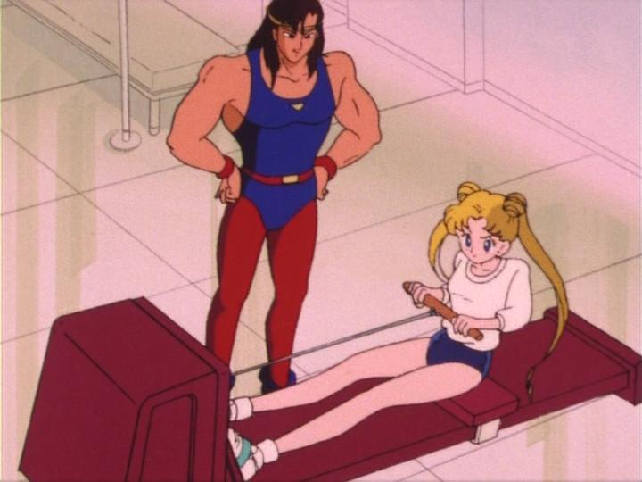 Usagi using a rower
