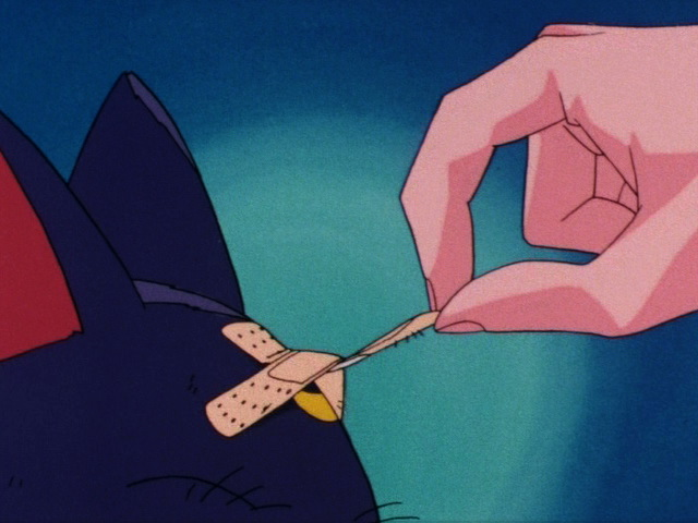 Sailor Moon episode 1 - Usagi removing a bandage from Luna's head