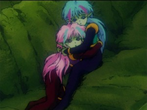 Ail and An as children at the Makaiju in Sailor Moon R