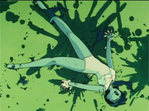 Sailor Mercury getting her suit destroyed showing a one piece suit with no separate panties