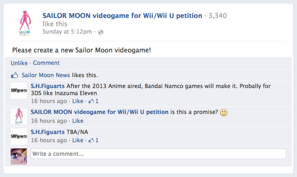 Sailor Moon 3DS video game rumour Facebook post