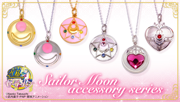 Sailor Moon accessory series necklaces by Bandai