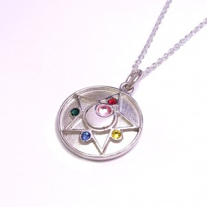 Sailor Moon Silver Crystal Star Brooch Necklace from Bandai