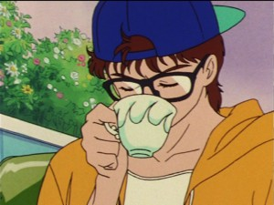 Game Machine Joe sipping tea
