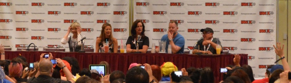 Sailor Moon 20th Anniversary Cast Reunion Panel at Fan Expo 2013 featuring Susan Roman, Katie Griffin, Linda Ballantyne, Toby Proctor and John Stocker