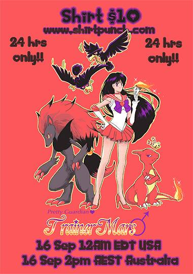 """Trainer Mars"" Sailor Moon/Pokémon shirt for sale today at ShirtPunch"