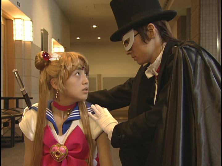 Miyuu Sawai as Sailor Moon and Jouji Shibue as Tuxedo Mask from the live action Pretty Guardian Sailor Moon series
