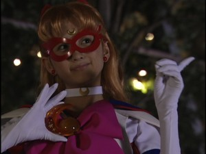 Ayaka Komatsu as Sailor V from the live action Pretty Guardian Sailor Moon series