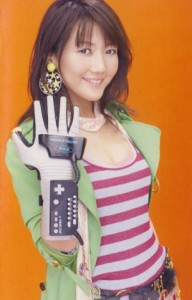 Haruko Momoi wearing a Power Glove