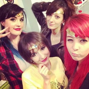Lindze Merrit, Riki Lecotey, Katie George and Monika Lee cosplaying as Sailor Moon characters for Anime South 2013