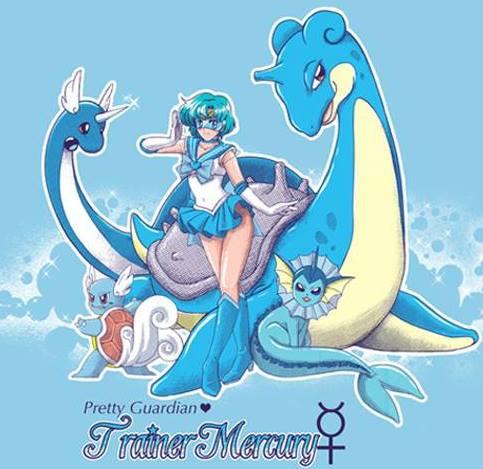 Pretty Guardian Trainer Mercury Sailor Moon/Pokémon Shirt