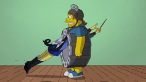 Sailor Moon reference in The Simpsons - Kumiko as a Sailor Senshi jumping through Comic Book Guy dressed as The Stargate