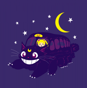 Lunar Express - Luna as the Cat Bus with Sailor Moon - Shirt available at Arteesel