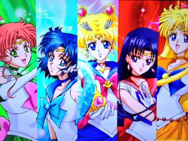 New character designs for Sailor Jupiter, Sailor Mercury, Sailor Moon, Sailor Mars and Sailor Venus from Sailor Moon Crystal