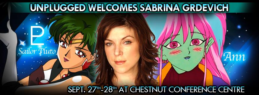Sabrina Grdevich, the voice of Anne and Sailor Pluto, at Unplugged Expo