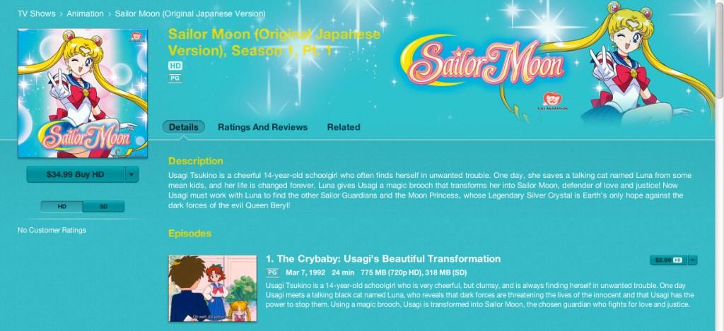 Sailor Moon season 1 part 1 on iTunes