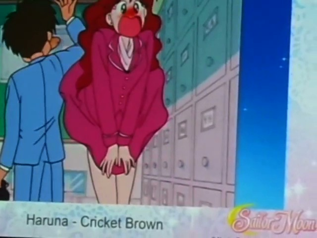 Cricket Brown as Haruna having her skirt flipped by Umino