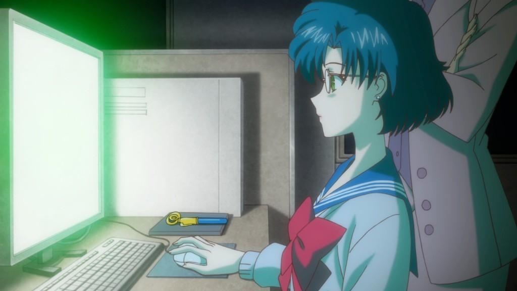 Sailor Moon Crystal Act.2 Ami - Sailor Mercury - Ami at her comput