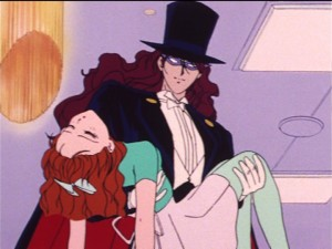 Sailor Moon episode 19 - Nephrite as Tuxedo Mask with Naru
