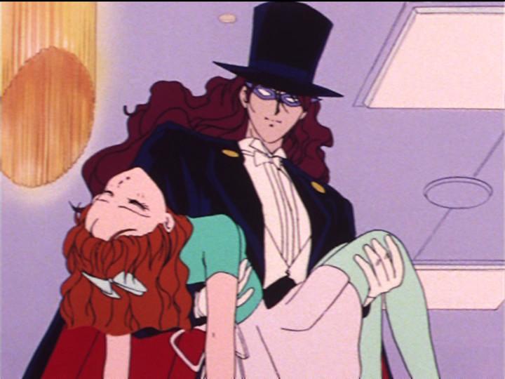 Sailor Moon episode 19 - Nephrite as Tuxedo Mask with Naru