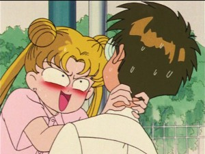 Sailor Moon episode 26 - Usagi strangling Umino