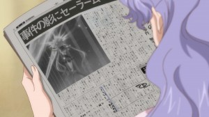 Sailor Moon Crystal Act 4 - Newspaper from the future showing Sailor Moon doing Moon Twilight Flash