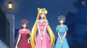 Sailor Moon Crystal Act 4 - Rei, Usagi and Ami dressed as princesses