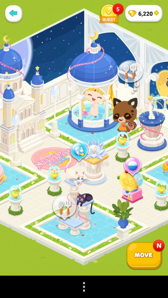 Sailor Moon in Line Play - Usagi taking a bath