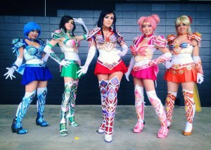 Gladzy Kei as Sailor Mercury, Andy Rae as Sailor Jupiter, Jessica Nigri as Sailor Mars, Vicky Lau as Sailor Chibi Moon and Jessica Roh as Sailor Venus