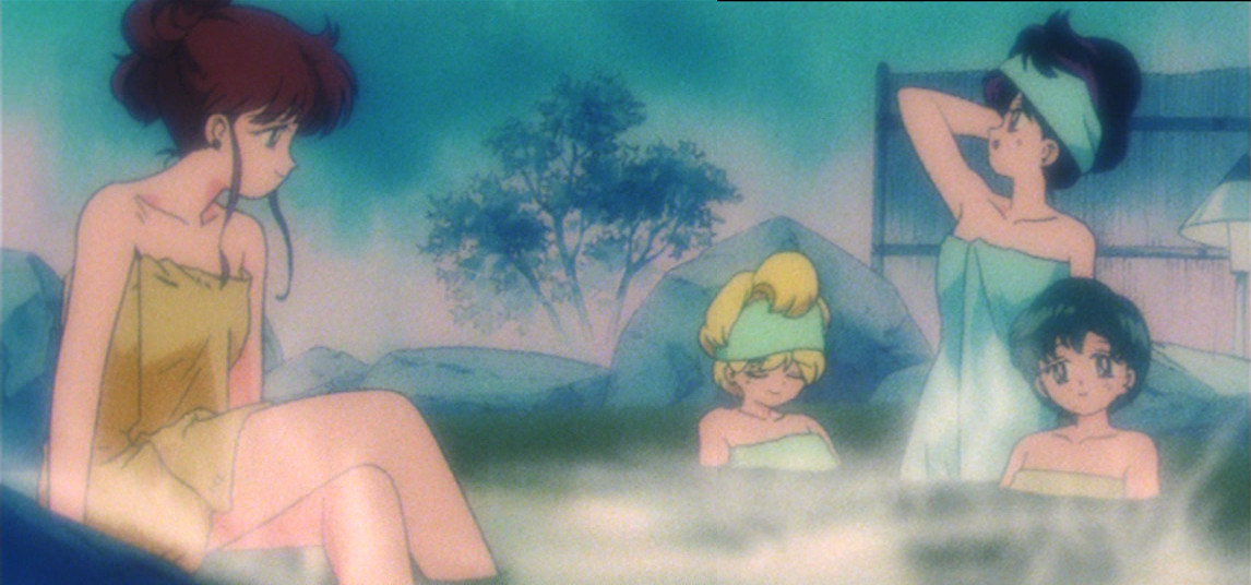 Sailor Moon episode 40 - Makoto, Minako, Rei and Ami at the hot springs