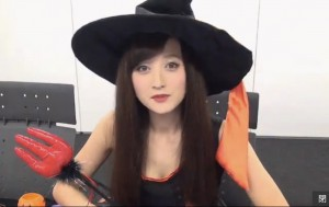 Ayaka Komatsu dressed as a witch for her Halloween special