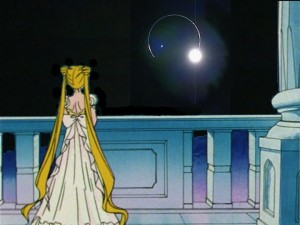 Princess Serenity staring at the Earth during a Lunar eclipse
