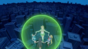 Sailor Moon Crystal Act 8 - Sailor Jupiter flying with everyone in tow