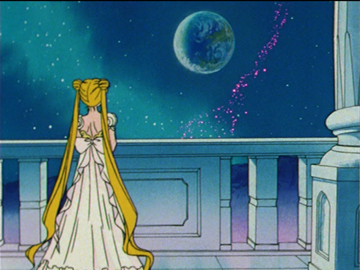Sailor Moon episode 44 - Princess Serenity gazing at the Earth